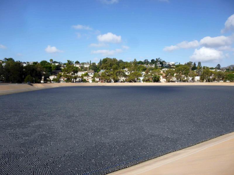 floating cover on a fresh water reservoir to stop evaporation